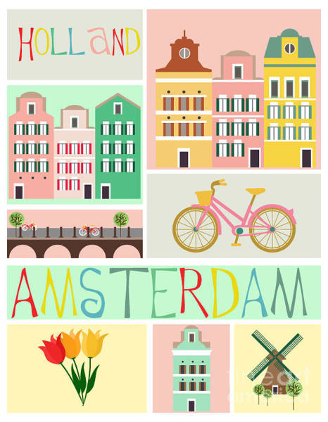 Boats Digital Art - Love Amsterdam by Mio Buono