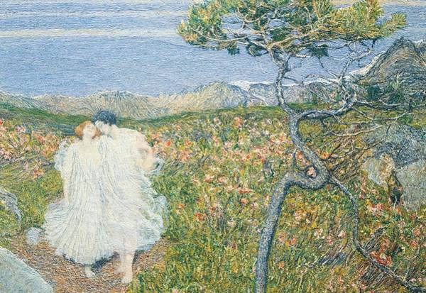 Villa D Wall Art - Painting - Love At The Fountain Of Life Or Lovers At The Sources Of Life by Giovanni Segantini