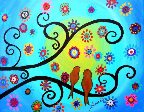 Toomer Wall Art - Painting - Love Birds In Whimsyland by Pristine Cartera Turkus