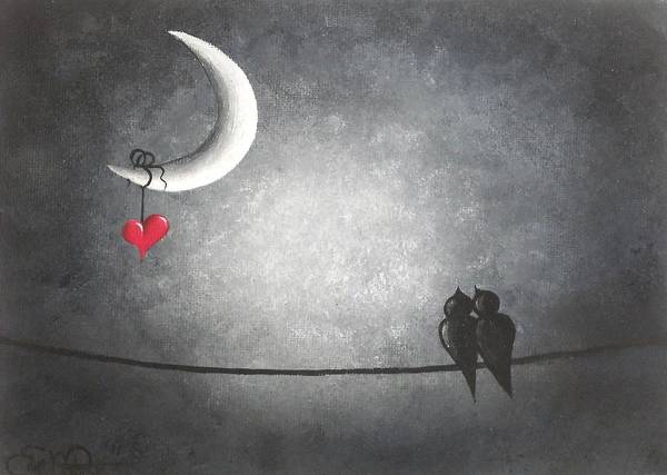 Red Moon Painting - Love Birds by Oddball Art Co by Lizzy Love