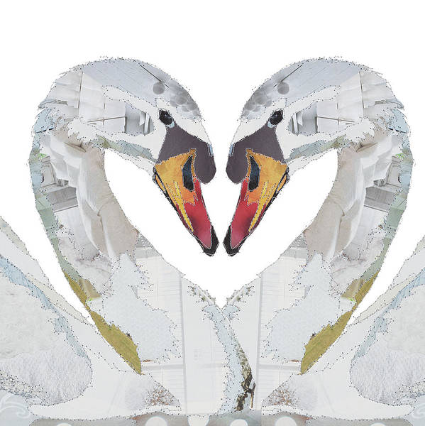 Stitch Painting - Love Birds-swans by MGL Meiklejohn Graphics Licensing