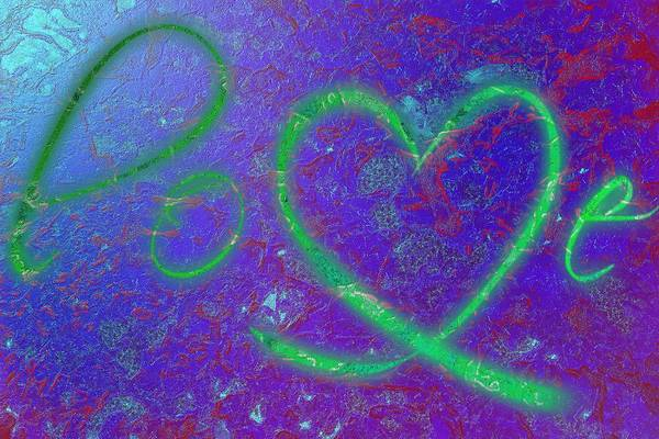 Digital Art - Love Blue Green And A Touch Of Red by Catherine Lott