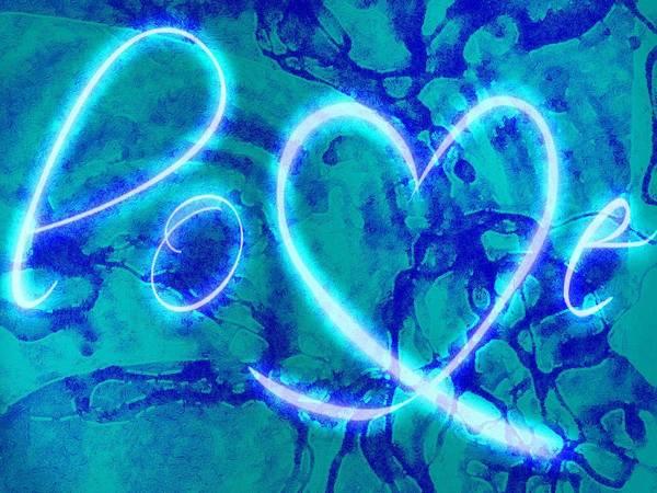 Digital Art - Love Blue Whirls by Catherine Lott
