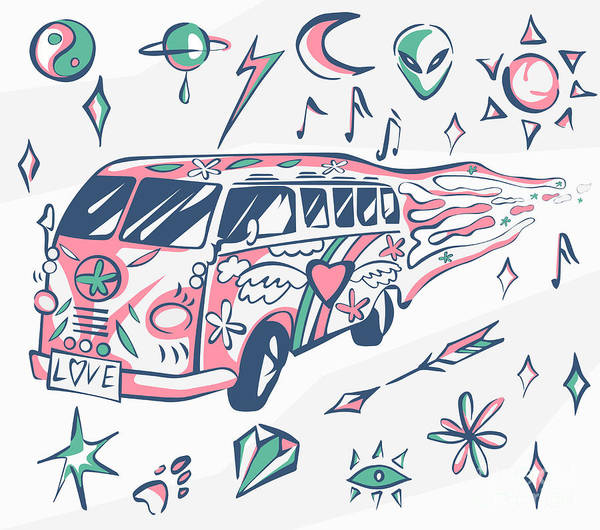 60s Digital Art - Love Bus Vector Poster. Hippie Car by Inamel
