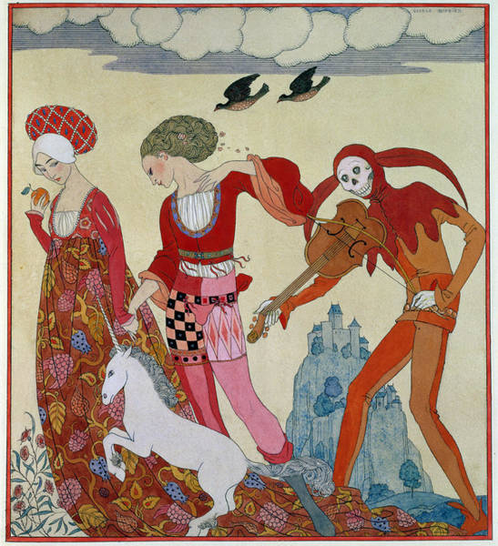 Courtship Wall Art - Painting - Love Desire And Death by Georges Barbier