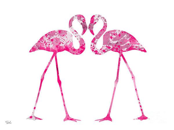 Flamingo Watercolor Painting - Love Flamingos by Watercolor Girl