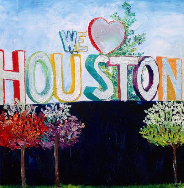 Houston Texas Painting - Love For Houston by Lauren Luna