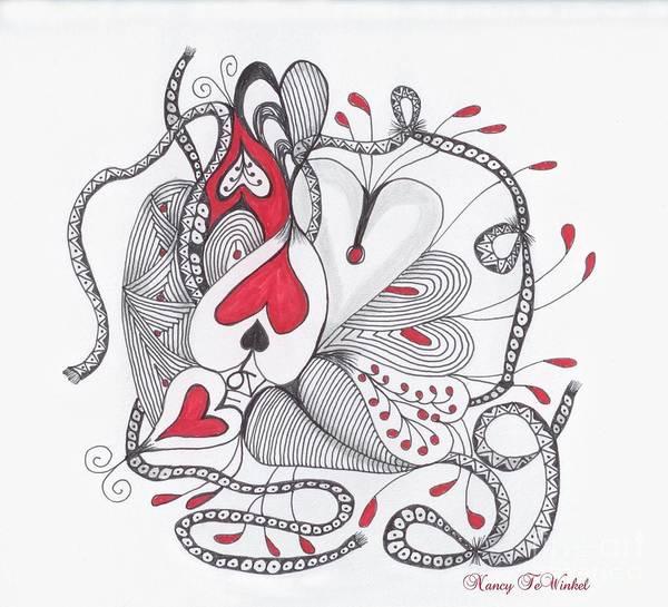 Wall Art - Drawing - Love Heart by Nancy TeWinkel Lauren