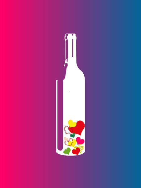 Digital Art - Love In A Bottle Minimalist Poster by Celestial Images