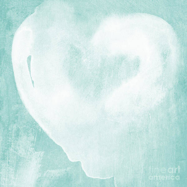 Blue Heart Wall Art - Mixed Media - Love In Aqua by Linda Woods
