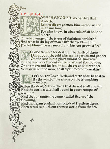 Poetry Drawing - Love Is Enough by William Morris