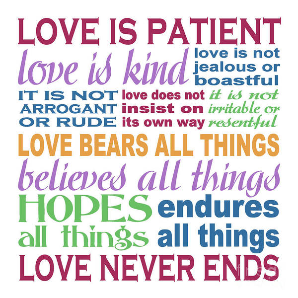 Patient Wall Art - Painting - Love Is Patient - Color  by Ginny Gaura