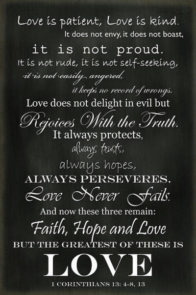 Bible Quotes Photograph - Love Is Patient by Inspired Arts