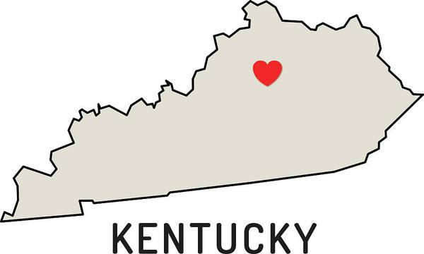 Design Digital Art - Love Kentucky State by Chokkicx
