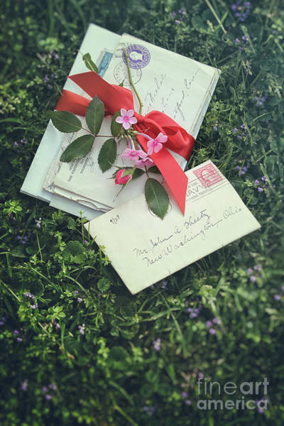 Photograph - Love Letters With Red Satin Ribbon In The Grass by Sandra Cunningham