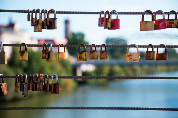 Love Photograph - Love Locks Hang From Kettenbrücke by Holger Leue