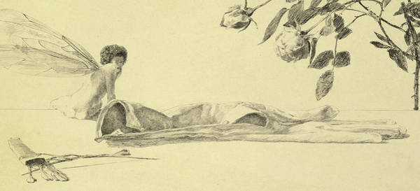 Nymph Drawing - Love by Max Klinger