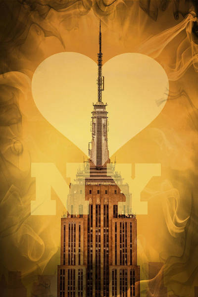 Architectural Digital Art - Love New York by Az Jackson