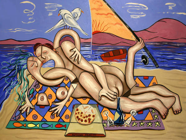 Painting - Love On A Deserted Island by Anthony Falbo