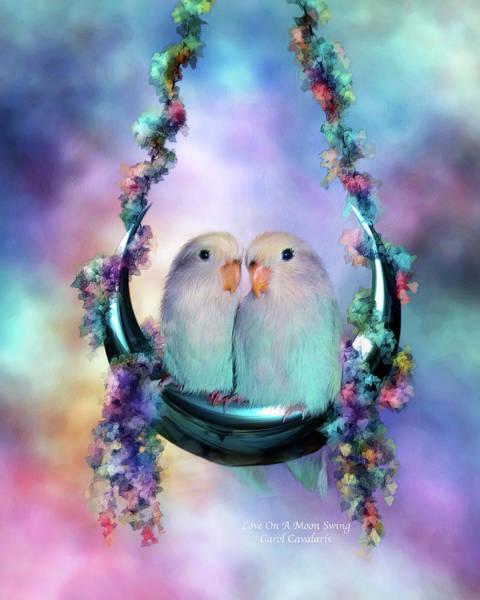 Wall Art - Mixed Media - Love On A Moon Swing by Carol Cavalaris
