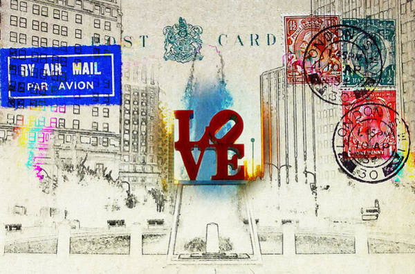 Photograph - Love Park Post Card by Bill Cannon