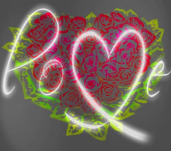 Digital Art - Love Roses Neon by Catherine Lott