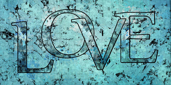 Turquoise Digital Art - Love - S0301b01 by Variance Collections