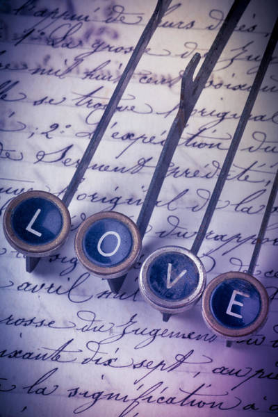 Ink Pen Photograph - Love Type On Old Letter by Garry Gay
