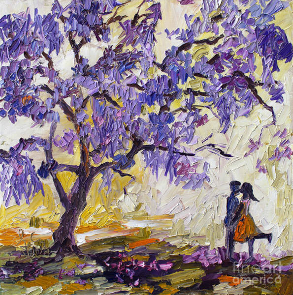 Blooming Tree Painting - Love Under The Jacaranda Tree by Ginette Callaway