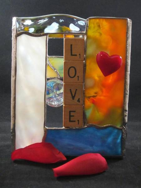 Glass Art - Love Window-sill Box by Karin Thue