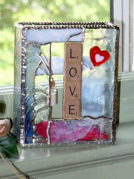 Glass Art - Love  Windowsill Box by Karin Thue