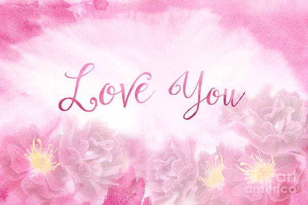Love You Dark Pink Roses Watercolor Background Art Print