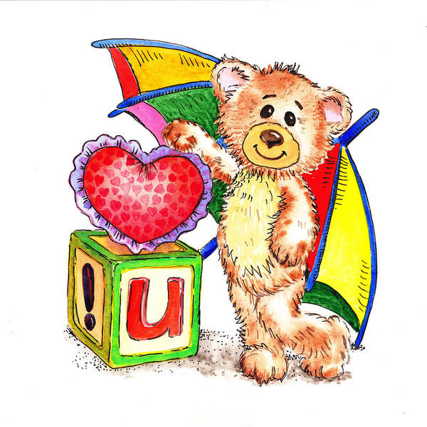 Teddy Bear Painting - Love You Teddy Bear by Irina Sztukowski