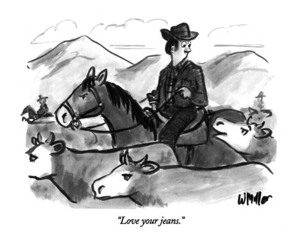 Rural Drawing - Love Your Jeans by Warren Miller