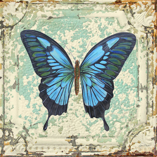 Ceiling Painting - Lovely Blue Butterfly On Tin Tile by Jean Plout