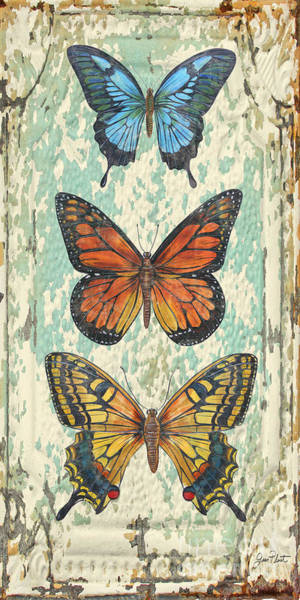 Ceiling Painting - Lovely Butterfly Trio On Tin Tile by Jean Plout