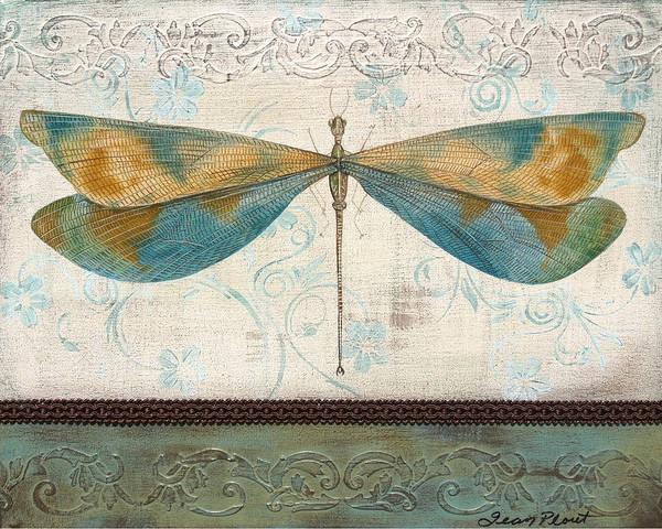 Emboss Wall Art - Painting - Lovely Dragonfly by Jean Plout