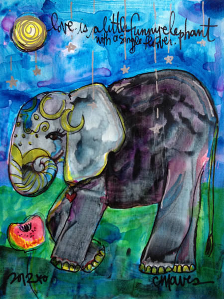 Painting - Lovely Little Elephant1 by Laurie Maves ART