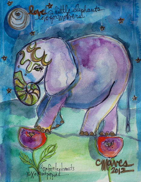Painting - Lovely Little Elephant2 by Laurie Maves ART