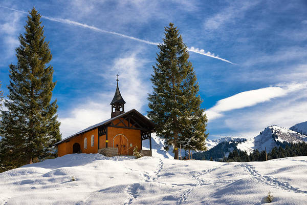 Photograph - Lovely Little Mountain Chapel In Winter In The Alps by Matthias Hauser