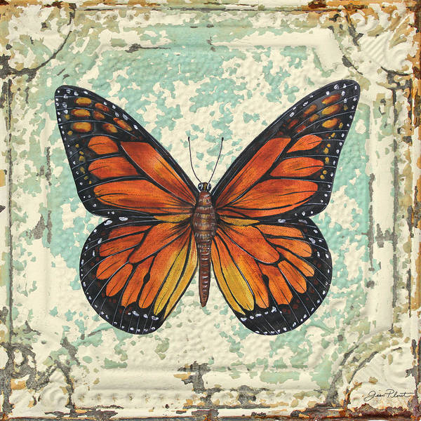 Ceiling Painting - Lovely Orange Butterfly On Tin Tile by Jean Plout