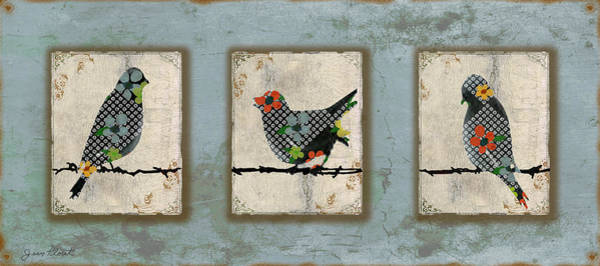 Wire Digital Art - Lovely Song Bird Trio -1 by Jean Plout