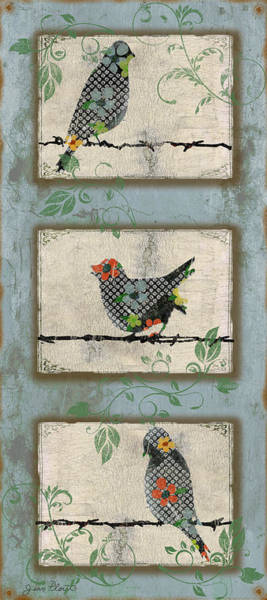 Wire Digital Art - Lovely Song Bird Trio - 2 by Jean Plout