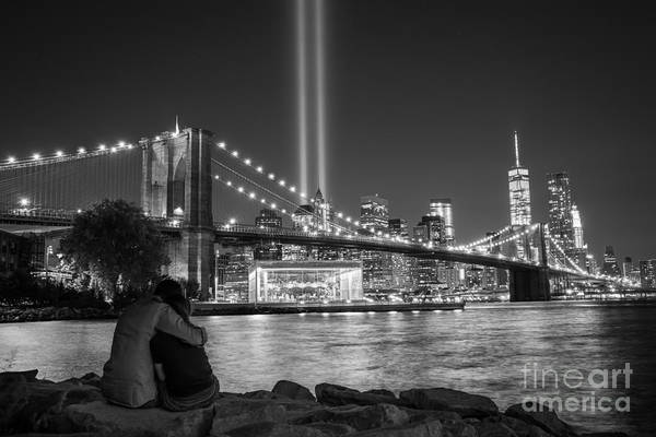 Liberty Bridge Photograph - Lovers Embrace Bw by Michael Ver Sprill