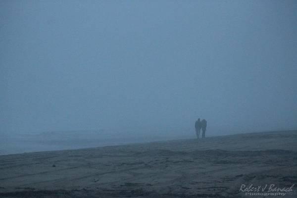 Photograph - Lovers On A Foggy Beach by Robert Banach