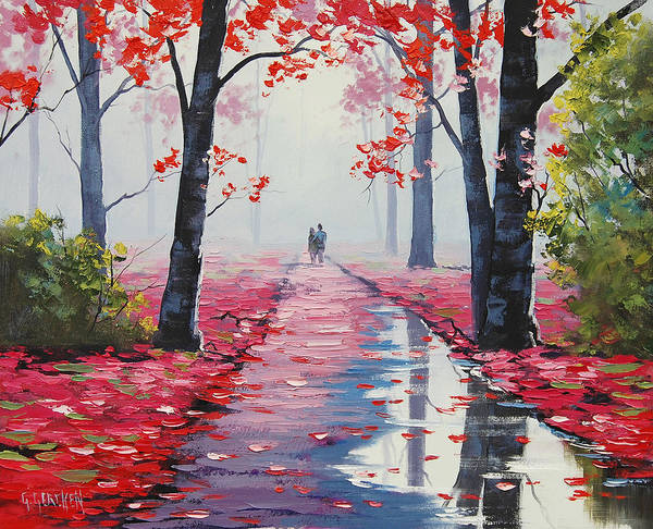 Pink Blossom Painting - Lovers Stroll by Graham Gercken