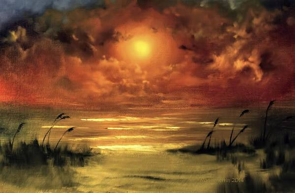 Sea Oats Painting - Lovers Sunset by Melissa Herrin