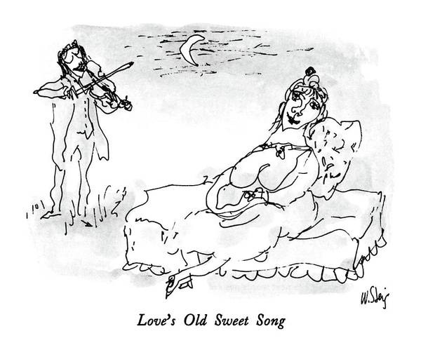 Moon Drawing - Love's Old Sweet Song by William Steig