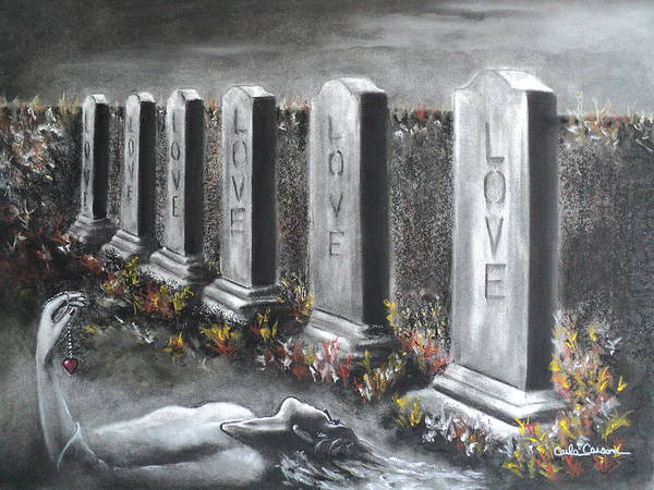 Gravestone Drawing - Loves Silent Echoes by Carla Carson