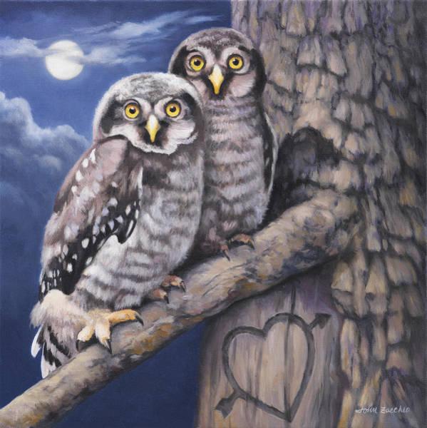 Owl Painting - Loving You by John Zaccheo